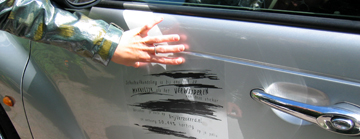 Guerrilla marketing campaign for a car insurance Scratches On Your Car - removable stickers