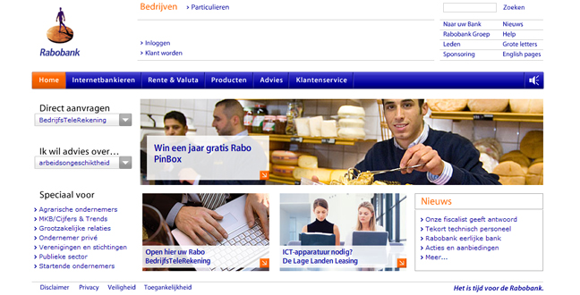 Rabo PinBox - banner on a website of Rabobank
